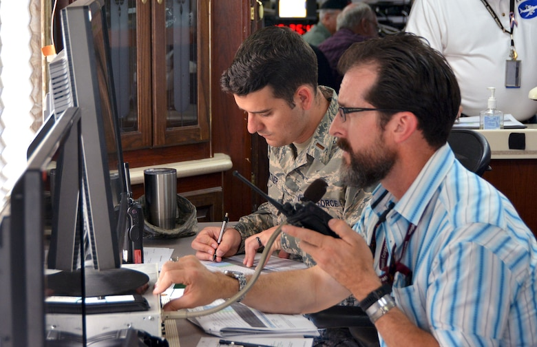 Contractor Brian Abell (right), 46th Test Squadron test engineer, and 2nd Lt. Samuel Hiltner (left), 46th Test Squadron defensive systems test engineer, monitor the flight path of a KC-135R Stratotanker as it passes over a test range at Eglin Air Force Base, Fla., Nov. 30, 2017. 507th Air Refueling Wing Reserve Citizen Airmen from Tinker AFB, Okla., flew the KC-135R over the test range more than 60 times so that a laser, simulating an incoming missile, could target and test the Large Aircraft Infrared Countermeasures modification system installed on the aircraft. (U.S. Air Force photo/Tech. Sgt. Samantha Mathison)