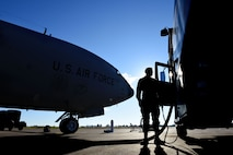 U.S. Air Force Airman Gabriel Rapp, 39th Logistics Readiness Squadron fuels specialist, delivers fuel to a KC-135 Stratotanker Dec. 12, 2017, at Incirlik Air Base, Turkey.  Fuels management Airmen work around the clock to ensure that aircraft can fly in support of Operation Inherent Resolve.  (U.S.  Air Force photo by Senior Airman Kristan Campbell)