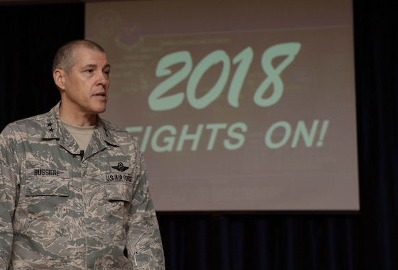Eighth Air Force and J-GSOC commander Maj. Gen. Thomas Bussiere speaks to Airmen about bomber operations for 2018 and recaps the past year's successes.