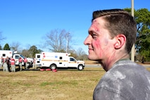 Capt. David Zablocki, 4th Medical Group practice manager, roleplays as a victim during a mass casualty exercise Dec. 13, 2017, at Seymour Johnson Air Force Base, North Carolina.