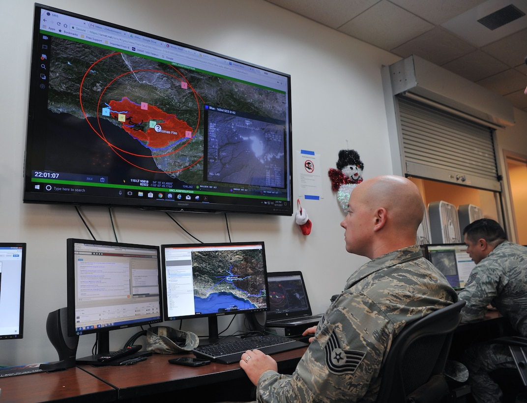 Tech. Sgt. Peter Radosevich, 234th Intelligence Support Squadron imagery mission supervisor, coordinates full-motion video analysis of the Thomas Fire.