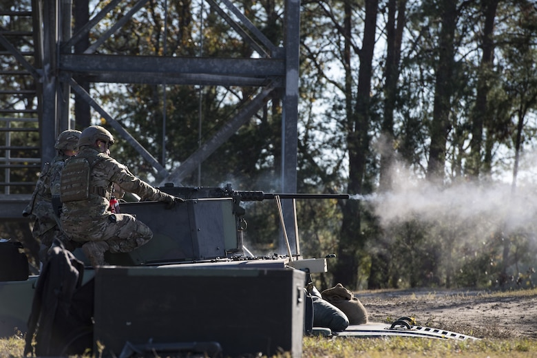 An Airman from the 823d Base Defense Squadron, fires a .50 Caliber M2 machine gun during a heavy weapons qualification, Dec. 13, 2017, at Camp Blanding Joint Training Center, Fla. Airmen shot at targets with the M2 to maintain their proficiency and familiarize themselves with the weapon. (U.S. Air Force photo by Senior Airman Janiqua P. Robinson)