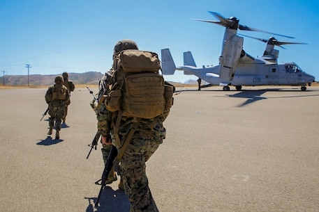 Marines from Charlie Company board a MV-22 Osprey while conducting Casualty Evacuation drills in September 2017. The exercise provided the Marines an opportunity to practice calling in a variety of reports over single channel radio.