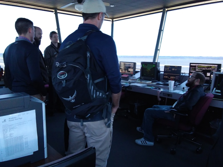 Students from multiple agencies attending the Aviation Domain Awareness Course visit the air traffic control tower at Mathis Airfield, San Angelo, Texas Dec. 7, 2017. Here the students received a rare first-hand look at how Air Traffic Controllers de-conflict inbound and outbound aircraft to ensure streamlined flight operations. (U.S. Air Force photo by Capt. Jacob Ewing/Released)