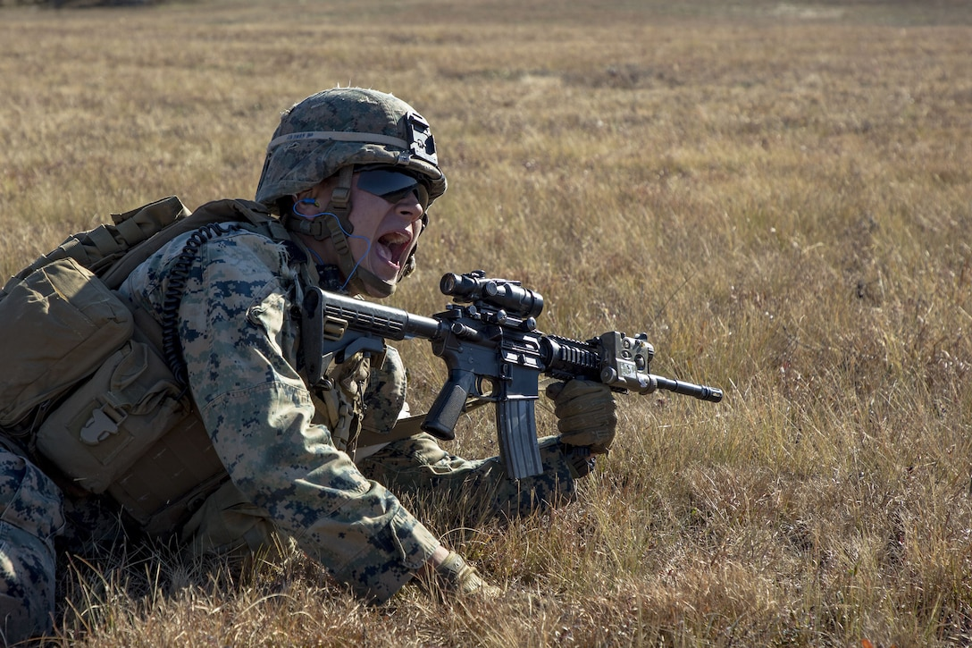 Charging forward: 1/2 assaults the objective, completes live-fire range