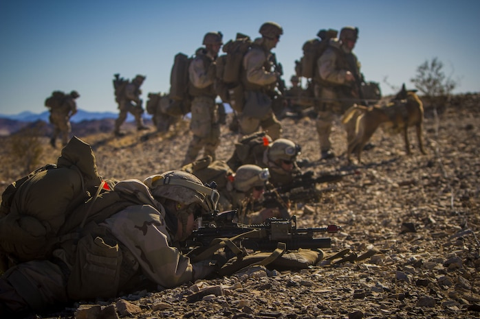 U.S. Marines with 2nd Battalion, 5th Marine Regiment, 1st Marine Division, provide cover fire during an air assault, part of exercise Steel Knight 2018 at Marine Corps Air Ground Combat Center, Twentynine Palms, Calif., Dec. 7, 2017.