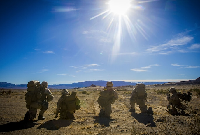U.S. Marines with 2nd Battalion, 5th Marine Regiment, 1st Marine Division, participate in an air assault as part of exercise Steel Knight 2018 at Marine Corps Air Ground Combat Center, Twentynine Palms, Calif., Dec. 7, 2017.