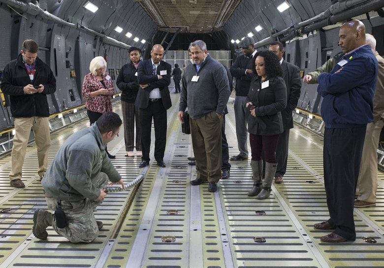 The senior leaders also recieved a mission brief and toured a C-5M Super Galaxy aircraft where they walked through the cargo hold, troop compartment, and flight deck.