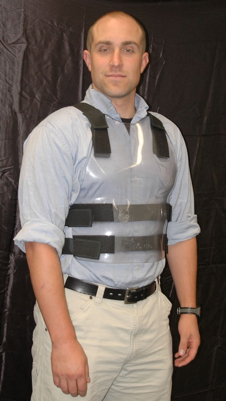 AFRL materials engineer and author TJ Turner models vest prototype