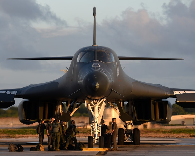 A B-1B Lancer aircrew prepares for their next mission at Andersen Air Force Base, Guam, Nov. 27, 2017. The B-1B and crew are deployed from the 37th Expeditionary Bomb Squadron at Ellsworth AFB, S.D. (U.S. Air Force photo by Airman 1st Class Gerald R. Willis)