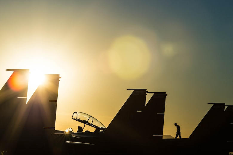 A Republic of Singapore Airman walks on an F-15SG Eagle, Dec. 8, 2017, during exercise Forging Sabre at Luke Air Force Base, Ariz. Exercise Forging Sabre is a two-week, large group exercise, providing high-end training to Singapore and U.S. armed forces. (U.S. Air Force photo by Staff Sgt. Jensen Stidham)