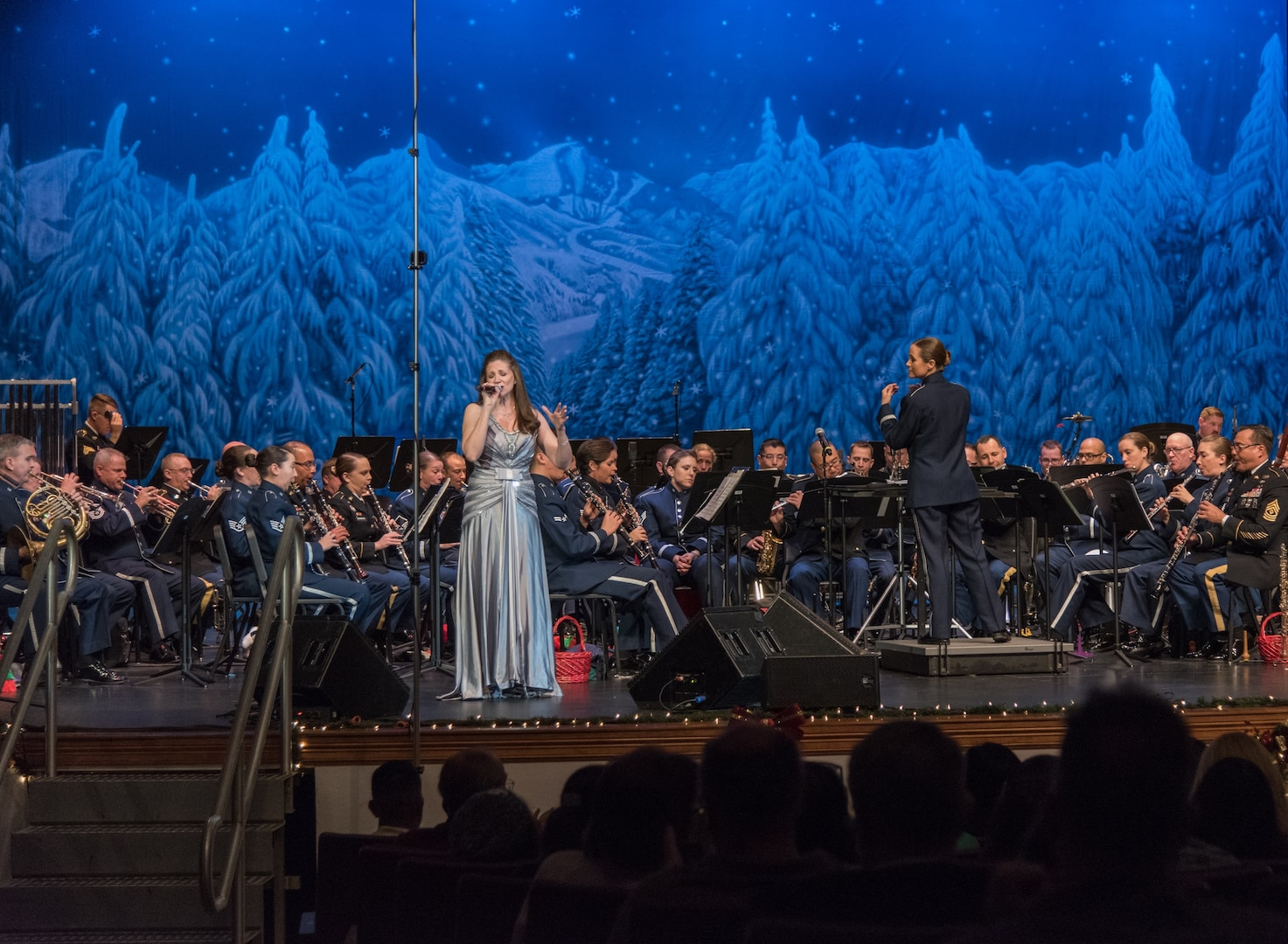 """The U.S. Air Force Band of the West and the 323rd Army Band """"Fort Sam's Own"""" team up for a """"Holiday in Red, White and Blue"""" concert Dec. 10, 2017 at the Edgewood Performing Arts Center, 402 Lance St., in San Antonio. The annual performance is free and open to the public and is a holiday tradition."""