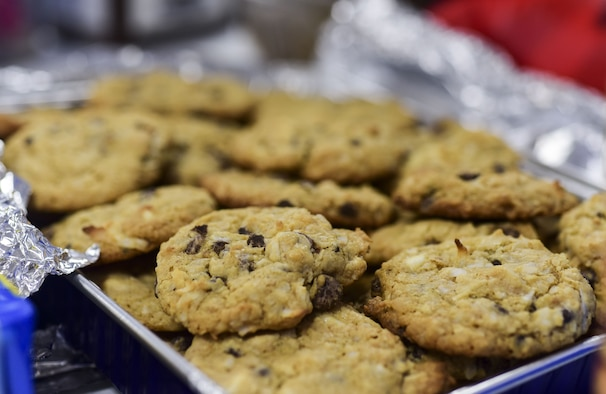 Homemade cookies sit on a table during the annual holiday cookie drive hosted by the Team Ellsworth Spouses Club at Ellsworth Air Force Base, S.D., Dec. 14, 2017. The TESC collected over 10,000 cookies donated by the local community and delivered them to more than 700 Airmen living in base dormitories. (U.S. Air Force photo by Senior Airman Randahl J. Jenson)
