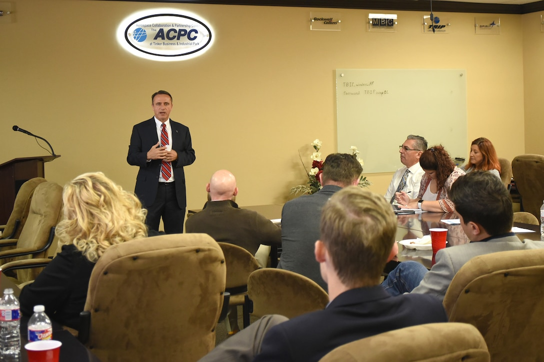 Kevin Stamey, Air Force Sustainment Center executive director, speaks to members of the Tinker Business Industrial Park during their November luncheon. One of the items Stamey discussed was status of the KC-46A Pegasus campus.