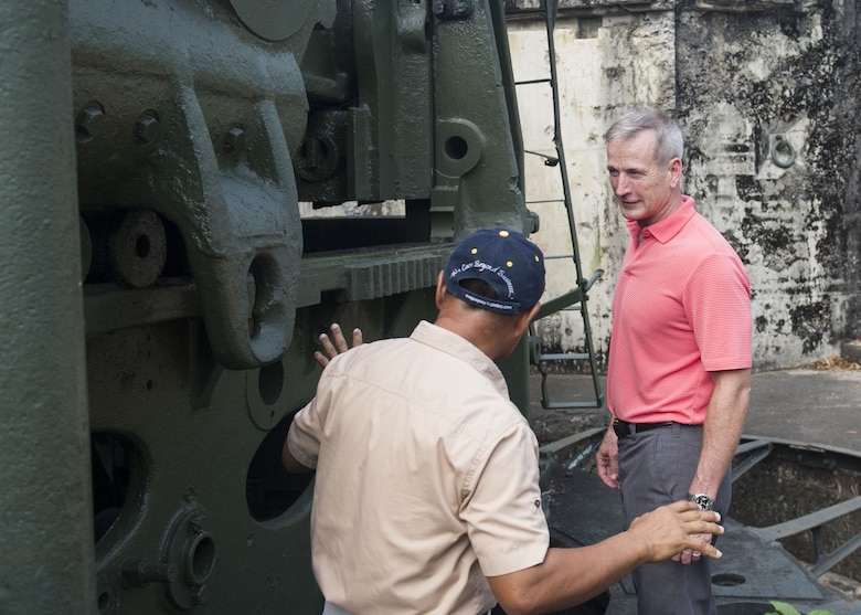 Gen. Terrence J. O'Shaughnessy, Pacific Air Forces commander, receives a brief on the defense of Corregidor Island, Philippines, during a historic tour of the island Dec. 10.