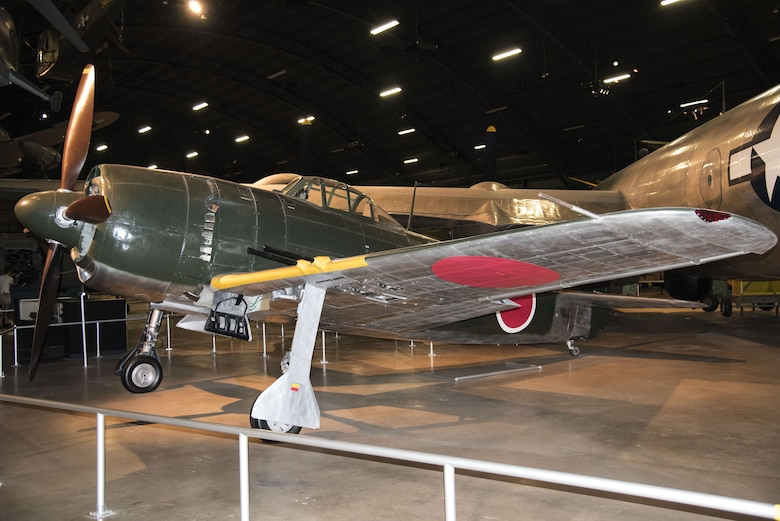DAYTON, Ohio -- Kawanishi N1K2-Ja Shiden Kai (George) on display in the World War II Gallery at the National Museum of the U.S. Air Force. (U.S. Air Force photo by Ken LaRock)