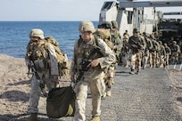 171210-M-QL632-085 DJIBOUTI, Djibouti (Dec. 14, 2017) – U.S. Marines and French military forces disembark a French roll-on/roll-off catamaran landing craft during Alligator Dagger. Alligator Dagger, led by Naval Amphibious Force, Task Force 51/5th Marine Expeditionary Expedition Brigade, is a dedicated, bilateral combat rehearsal that combines U.S. and French forces to practice, rehearse and exercise integrated capabilities available to U.S. Central Command both afloat and ashore. (U.S. Marine Corps photo by Staff Sgt. Vitaliy Rusavskiy/Released)