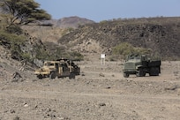 171214-M-QL632-036 DJIBOUTI, Djibouti (Dec. 14, 2017) – U.S. Marines and French military forces convoy through a training range during Alligator Dagger, a bilateral combat rehearsal. Alligator Dagger, led by Naval Amphibious Force, Task Force 51/5th Marine Expeditionary Expedition Brigade, is a dedicated, bilateral combat rehearsal that combines U.S. and French forces to practice, rehearse and exercise integrated capabilities available to U.S. Central Command both afloat and ashore. (U.S. Marine Corps photo by Staff Sgt. Vitaliy Rusavskiy/Released)
