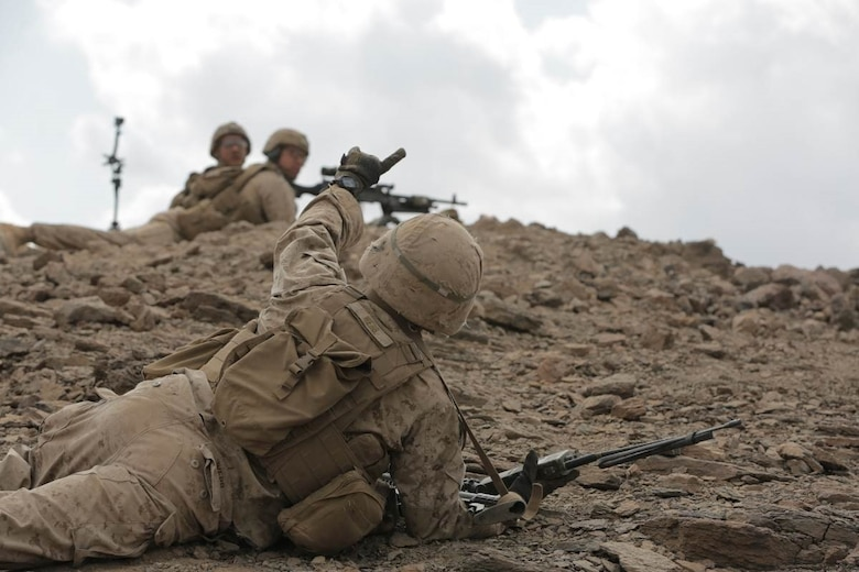 DJIBOUTI (Dec. 17, 2017) - U.S. Marines with the 15th Marine Expeditionary Unit receive targeting information used to adjust fire during Alligator Dagger. Alligator Dagger, led by Naval Amphibious Force, Task Force 51/5th Marine Expeditionary Expedition Brigade, is a dedicated, bilateral combat rehearsal that combines U.S. and French forces to practice, rehearse and exercise integrated capabilities available to U.S. Central Command both afloat and ashore.