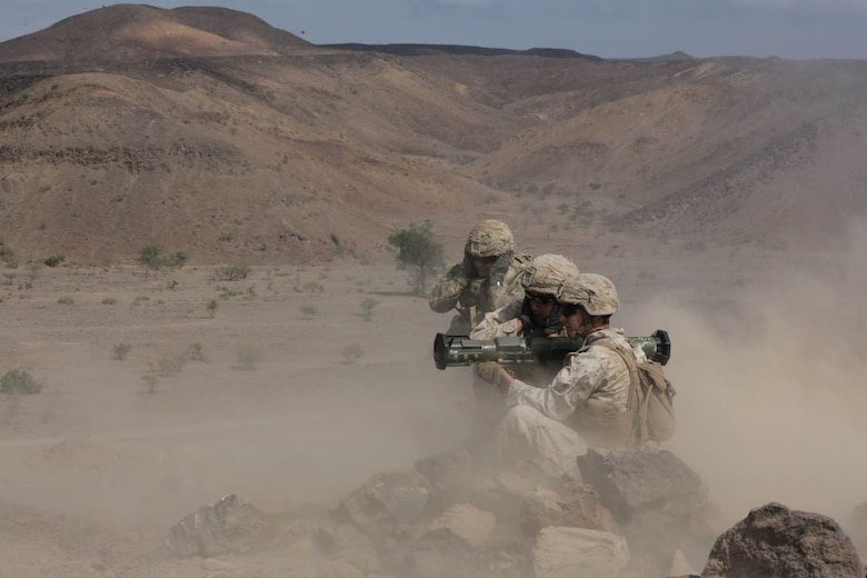 DJIBOUTI (Dec. 17, 2017) - U.S. Marines with the 15th Marine Expeditionary Unit take aim at a target during Alligator Dagger. Alligator Dagger, led by Naval Amphibious Force, Task Force 51/5th Marine Expeditionary Expedition Brigade, is a dedicated, bilateral combat rehearsal that combines U.S. and French forces to practice, rehearse and exercise integrated capabilities available to U.S. Central Command both afloat and ashore.