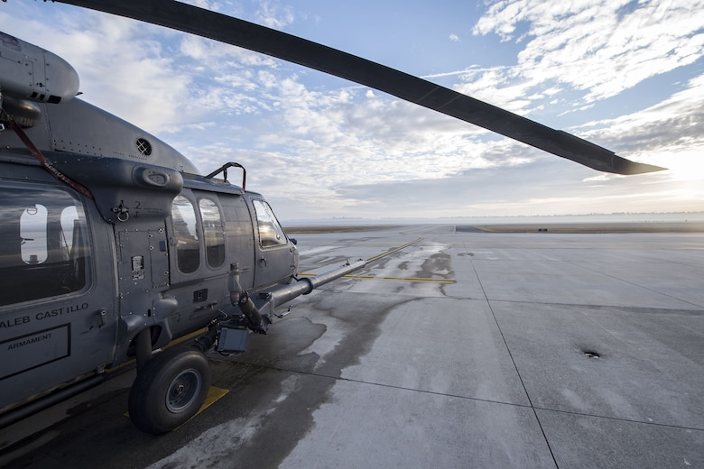 An HH-60G Pave Hawk rests on the flight line, Dec. 15, 2017, at Moody Air Force Base, Ga. Members from the 723d Aircraft Maintenance Squadron (AMXS) and 23d Civil Engineer Squadron (CES) participated in a training day to help improve their readiness and get extra practice at their crafts. The AMXS performed maintenance on helicopters and the CES conducted rescue operations by extinguishing a mock fire within an HH-60G Pave Hawk and extracting injured victims. (U.S. Air Force photo by Airman Eugene Oliver)