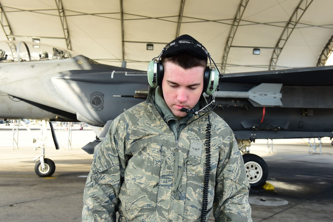 Airman Owen Gaylord, 4th Aircraft Maintenance Squadron crew chief, conducts a pre-flight inspection during exercise Razor Talon Dec. 15, 2017, at Seymour Johnson Air Force Base.