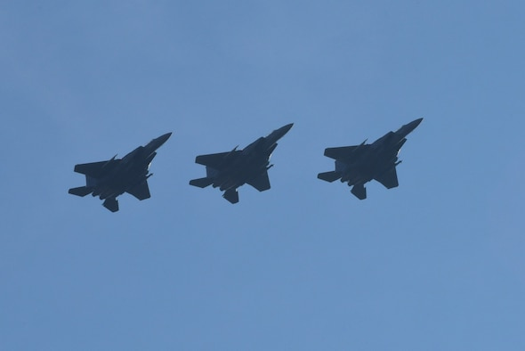 Three F-15E Strike Eagles fly in formation Dec. 15, 2017, over the skies of Seymour Johnson Air Force Base, North Carolina.