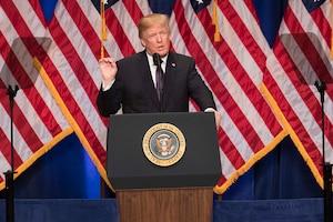 President Donald J. Trump makes a speech.