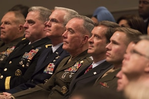 Members of the Joint Chiefs of Staff attend a presidential speech