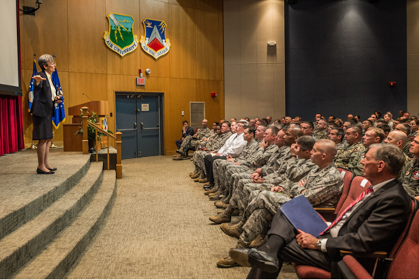 Secretary of the Air Force Heather Wilson is welcomed by Civil Air Patrol cadets at CAP National Headquarter on Maxwell Air Force Base, Alabama, Dec. 12, 2017. The Secretary was at Maxwell Dec. 11-13, 2017, to visit with Airmen and Air University students. (Courtesy photo)