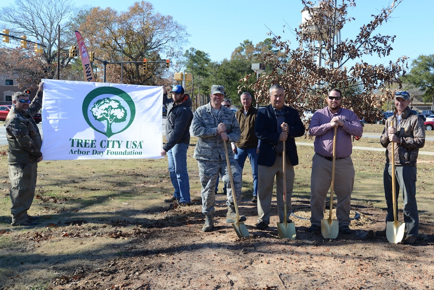 Team Shaw members planted a Cherrybark Oak tree in celebration of Arbor Day at Shaw Air Force Base, S.C., Dec. 13, 2017.