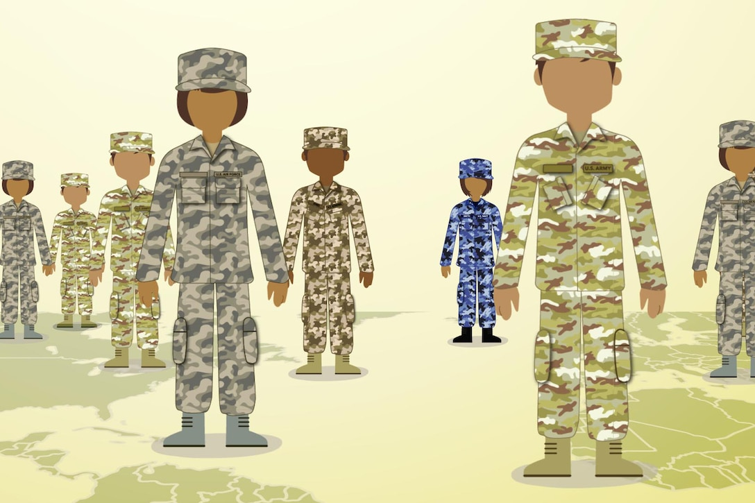 This graphic represents service members from around the world who participate in the Blended Military Retirement System.