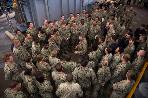 Lt. Gen. Jeffrey Buchanan, commander of U.S. Army North (5th Army) at Joint Base San Antonio-Fort Sam Houston, speaks to sailors in the well deck of the amphibious dock landing ship USS Oak Hill (LSD 51). The Department of Defense is supporting Federal Emergency Management Agency, the lead federal agency, in helping those affected by Hurricane Maria to minimize suffering and is one component of the overall whole-of-government response effort.