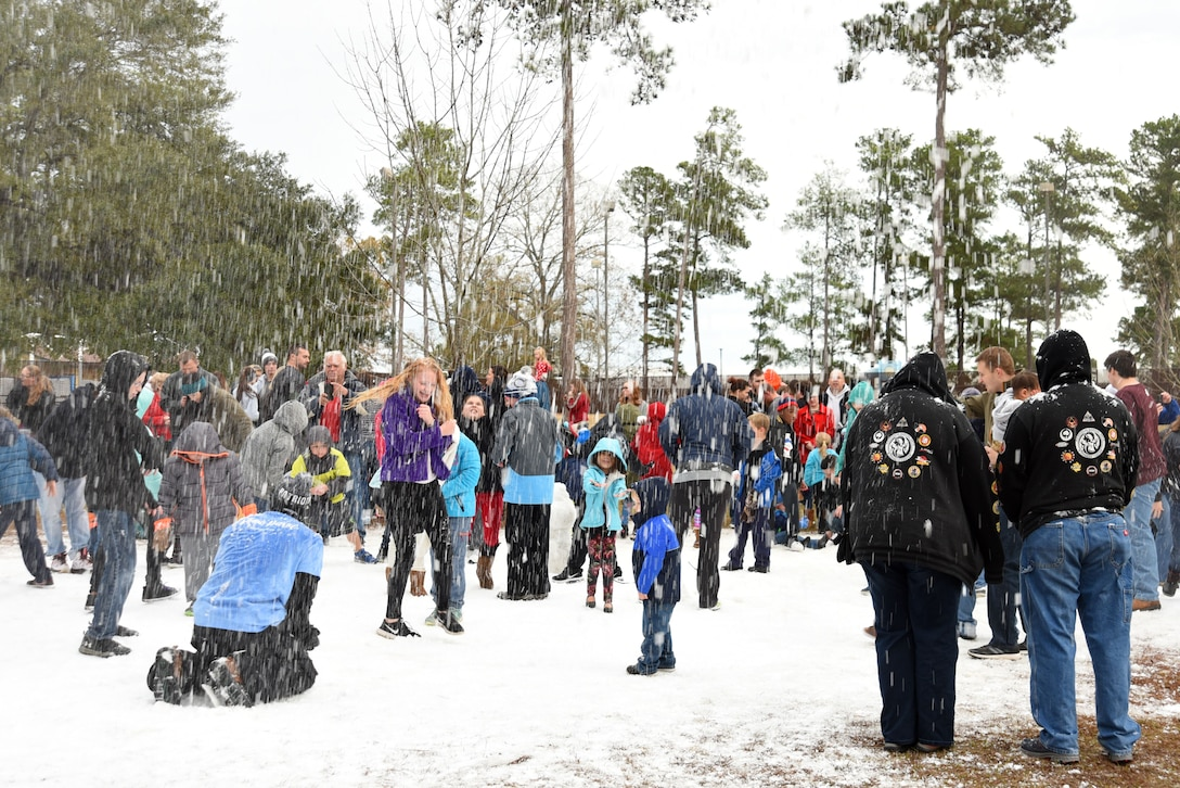 Team Shaw members play in the snow during Frosty Fest at Shaw Air Force Base, S.C., Dec. 17, 2017.