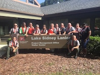 Lake Sidney Lanier park rangers pose for a photo earlier this year on National Life Jacket Day to raise awareness of the importance of wearing a life preserver. Promoting life jacket awareness was just one of many community outreach activities that helped Lake Lanier take home first place in the U.S. Army Corps of Engineers, South Atlantic Division's annual Water Safety and Education Awards.