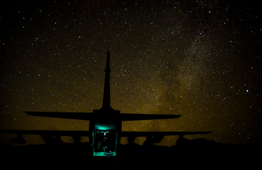 Air Commandos assigned to the 1st Special Operations Squadron Logistic Readiness Squadron, Hurlburt Field, Florida, board an MC-130H Combat Talon II, assigned to the 14th Weapons Squadron, after establishing a forward arming and refueling point during Coyote Freedom 401, Dec. 12, 2017, at the Nevada Test and Training Range. The MC-130H is a variant of the C-130 Hercules with added in-flight refueling capabilities and improved navigation computers that allow it to land or airdrop on small, unmarked runways with pinpoint accuracy. (U.S. Air Force photo by Airman 1st Class Andrew D. Sarver/Released)