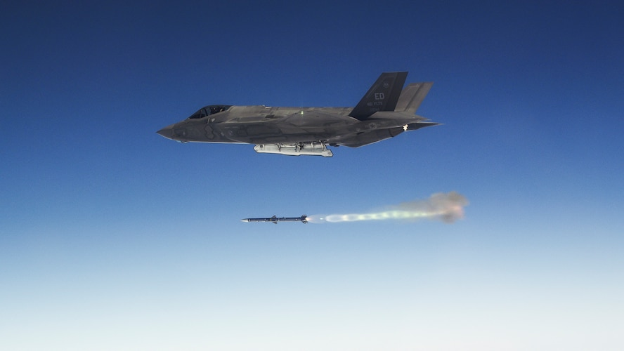 An Edwards AFB F-35A Lightning II fires an AIM-120 Advanced Medium-Range Air-to-Air Missile as part of weapons delivery accuracy testing. The 461st Flight Test Squadron and F-35 Integrated Test Force completed WDA testing in early December, which concludes a large and important part of F-35 developmental test and evaluation. (Courtesy photo by Chad Bellay/Lockheed Martin)
