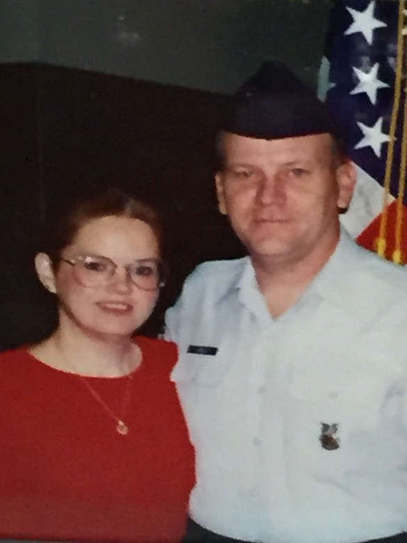 Ronald Hoelle and his wife, Diane Hoelle, at the retirement ceremony for him at Lackland Air Force Base in 1997 after 20 years' service as active duty. (Courtesy photo used with permission.)