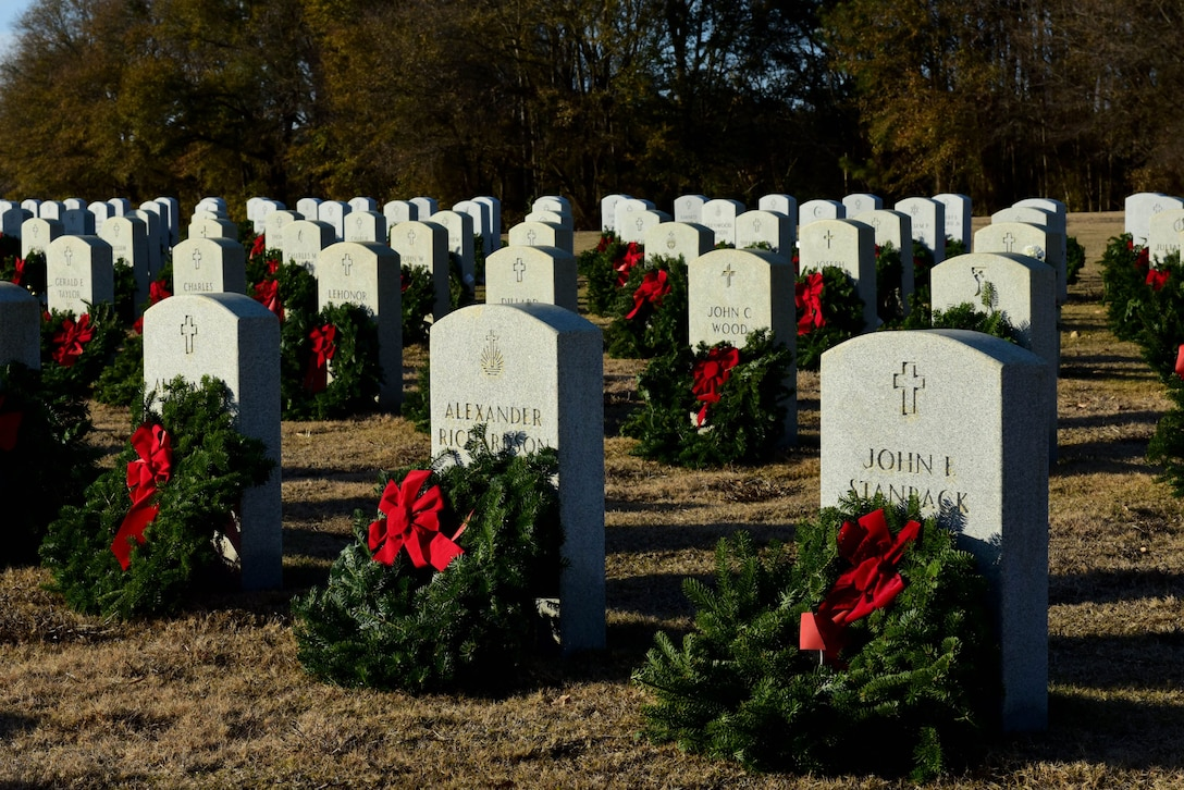 Wreaths are set out on the graves of fallen service members as part of the Wayne County Wreaths Across America wreath-laying ceremony Dec. 16, 2017, at the Eastern Carolina State Veterans Cemetery in Goldsboro, North Carolina.