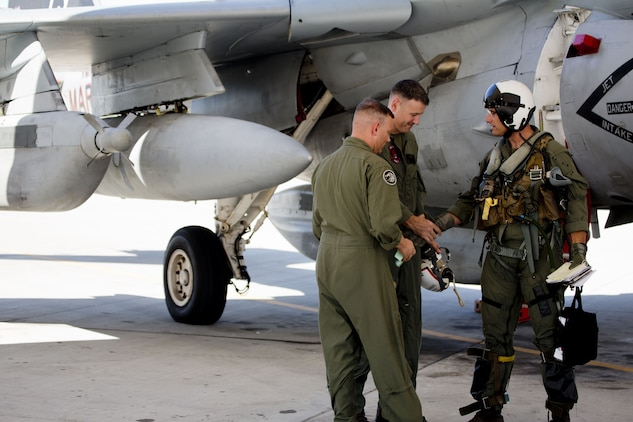 U.S. Marine Corps Col. David A. Suggs, the commanding officer of Marine Corps Air Station Yuma, Ariz., was invited to fly in one of two EA-6B Prowler aircraft attached to Marine Tactical Electronic Warfare Squadron (VMAQ) 2, Oct. 16, 2017. This is the first time Col. Suggs has flown the Prowler after Many Years. (U.S. Marine Corps photo by Cpl. Ernest D. Grant)