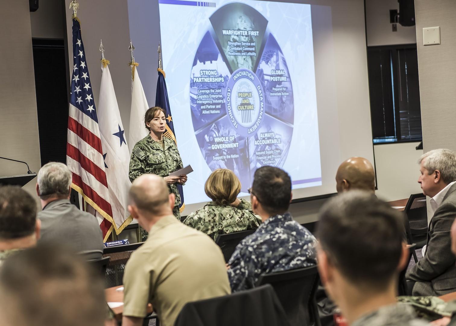 U.S. Navy Rear Adm. Michelle Skubic presented the DLA director's strategic plan during the Dec. 1 JFOS at DSCC.
