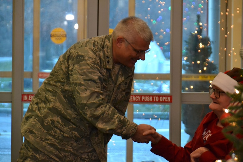 Maj. Gen. Tony Carrelli, Pennsylvania's adjutant general and head of the Pennsylvania Department of Military and Veterans Affairs (DMVA), greets a resident of the Delaware Valley Veteran's Home, Philadelphia, during a holiday-themed visit by Pa. National Guardsmen Dec. 14. 2017. Airmen and Soldiers of the Commonwealth not only play a critical role operationally, but also as ambassadors for the U.S. military. (U.S. Air National Guard photo by Tech. Sgt. Andria Allmond)
