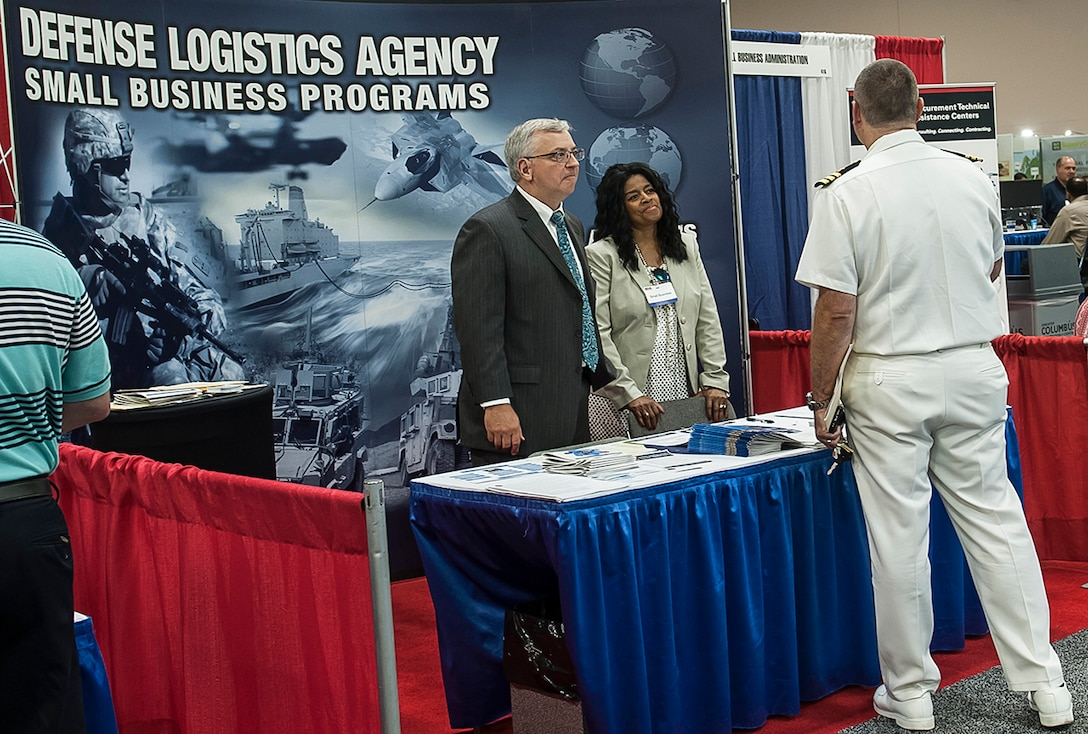 DLA Land and Maritime Small Business Specialists James Secrist (left) and Donna Brino-Blackwell were on hand to discuss small business program opportunities with attendees at the 2016 DLA Land and Maritime Supplier Conference and Expo in Columbus, Ohio.