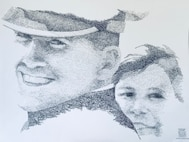 "Hand-drawn portrait of Capt. Lance P. Sijan and Janine Sijan-Rozina, Lance's sister. The portrait consists of 1,000 ""Thank Yous"" and was presented to Janine at the Profession of Arms Center of Excellence Summit V, Dec. 6. (original artwork by Charles Ingram)"