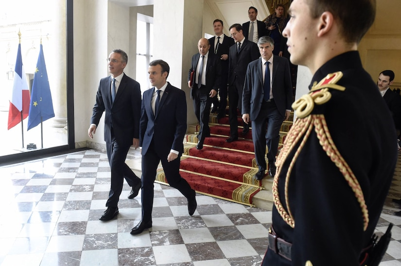 NATO Secretary General Jens Stoltenberg meets with French President Emmanuel Macron in Paris.