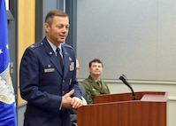 Col. Bradley McDonald, 88th Air Base Wing commander, addresses the 114th Anniversary of First Powered Flight attendees gathered at the Huffman Prairie Interpretive Center at Wright-Patterson Air Force Base, Ohio, Dec. 15, 2017. The event honors the accomplishments of Wilbur and Orville Wright as first to fly pioneers of powered aviation. (U.S. Air Force photo/Al Bright)