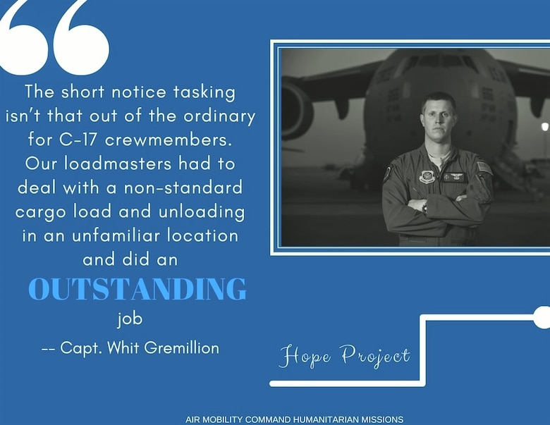 Capt. Whit Gremillion, an aircraft commander with the 21st Airlift Squadron, Travis Air Force Base, California, was part of the crew that provide humanitarian support in response to the Mexico earthquake in September 2017. Gremillion and his crew delivered 67 U.S. Agency for International Development elite disaster team members and five canines, along with equipment and medical supplies. (U.S. Air Force graphic by Candy Knight)