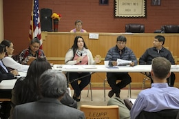 U.S. Army Corps of Engineers Los Angeles District Tribal Liaison Quana Higgins (speaking) briefs current partnering initiatives between the Navajo Nation and the Corps, and explained the importance of the partnership started under the watershed study. The Tribal Partnership Program authorizes the Corps, in cooperation with tribes and other federal agencies, to complete watershed assessments or determine the feasibility of projects that will substantially benefit Indian tribes.