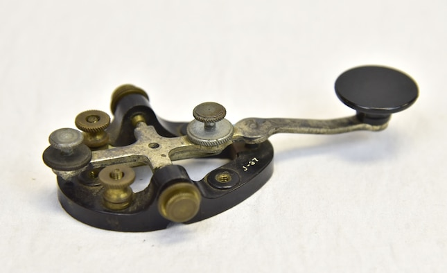 Plans call for this artifact to be displayed near the B-17F Memphis Belle™ as part of the new strategic bombardment exhibit in the WWII Gallery, which opens to the public on May 17, 2018. J-37 telegraph key used by bomber radio operators to send Morse code messages over long distances.