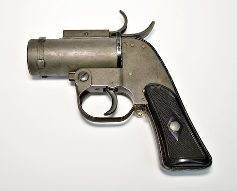 Plans call for this artifact to be displayed near the B-17F Memphis Belle™ as part of the new strategic bombardment exhibit in the WWII Gallery, which opens to the public on May 17, 2018. M8 flare gun used for signaling.  For instance, bomber crewmen fired a red flare to indicate a wounded crewman onboard before landing.